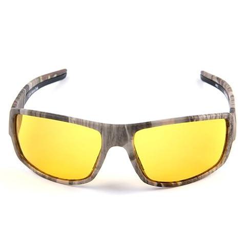 MOTELAN Yellow Lens Night Vision Polarized Driving Goggles - Professional Sports Fishing Hunting Glasses Reduce Glare Camo Frame