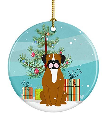 Caroline's Treasures Merry Christmas Tree Flashy Fawn Boxer Ceramic Ornament, Multicolor