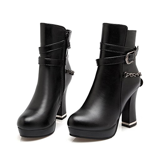 Boots Black Solid Low High Heels Toe Round Allhqfashion Top Women's Closed vAzCq1nxRw