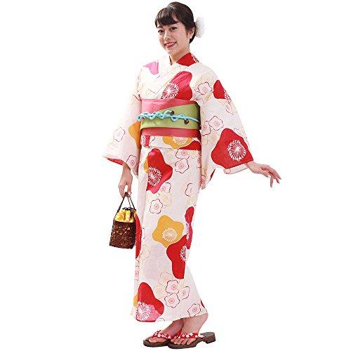 振る舞う堤防蒸留する浴衣 レディース 単品 白にピンクと黄の梅