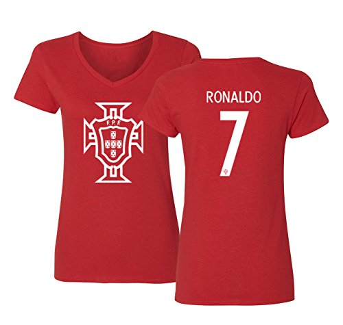 Tcamp Portugal 2018 National Soccer #7 Cristiano RONALDO World Championship Womens V-Neck Tshirt