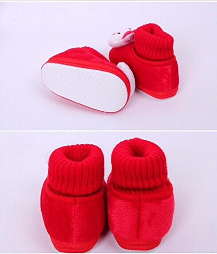 Tefamore Zapatos Bebe De Primeros Pasos Calzado De Estilo Lindo Conejo Pequeñas Botas Para Primeros Caminantes Rojo