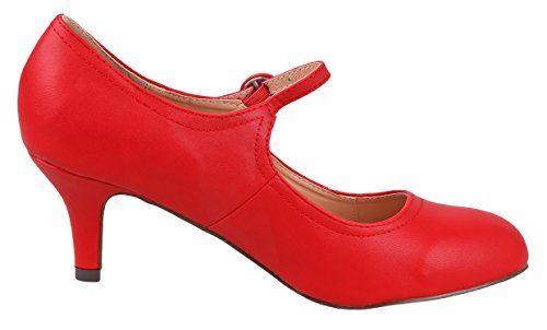 Chase & Chloe Womens Kimmy-21 Regular |Mary Jane | Mid Heel Shoes Red Pu Low fFGhc26NIr