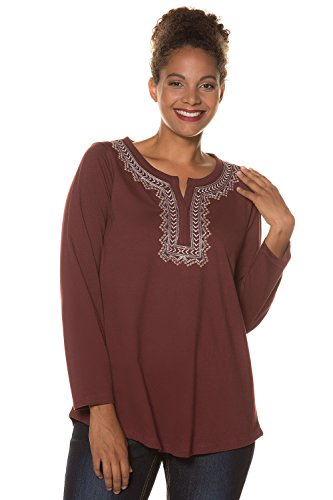 Ulla Popken Women's Plus Size Embroidered Long Sleeve Classic Fit Shirt Blackberry 20/22 715311 50