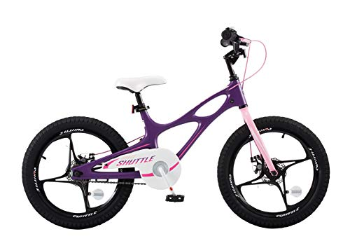 Space Shuttle Big - RoyalbabySpace Shuttle Lightweight Magnesium Kid's Bike with Disc Brakes for Boys and Girls, 18 inch with Kickstand, Lilac