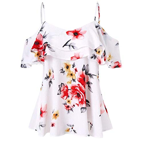 Dos Manches Basic Tshirts Volants Impression Tee Et Camisoles Branch Tops Vetement Elgante Casual Mode Shirt paules Fleurs Blanc Sling Courtes Nues Femme Nu WqfRTw4p