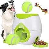 Interactive Pet Toys Dog Puzzle Food Dispenser Tennis Ball Throwing Fetch Machine Slow Feeder Bowl FDA Cat Training (Green)