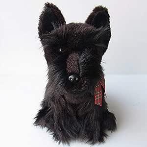 Mid Century Stuffed Vinyl Leatherette Style Hand Stitched Scottie Dog Toy