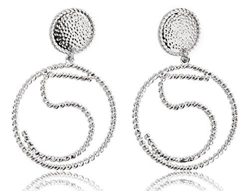 [MISASHA Celebrity Designer Number Five Silver Plated Hoop Earrings Studs] (Costume Caviar)