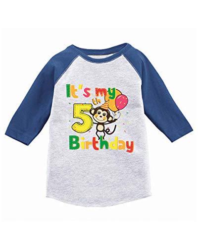 Awkward Styles Monkey Birthday Toddler Raglan 5th Birthday Jersey Shirt Monkey Party Blue -
