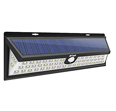 Newest Super Bright Solar Lights,Istar 54 LED Solar Power Outdoor Motion Sensor Light With LED on Both Side for Patio,Deck,Yard,Garden,Driveway,Outside w/ Wide Angle Sensor 160°,Solar effeciency 24%