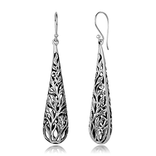 925 Oxidized Sterling Silver Bali Inspired Open Filigree Puffed Teardrop Dangle Hook Earrings 2.3