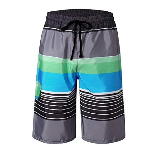 (Swim Trunks for Men Forthery Summer Stripe Print Graphic Casual Athletic Swimming Short Quick Dry Bathing Suits(Black,XXL=32))