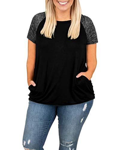 Short Raglan Tee Sleeve Striped - Womens Tops Plus Size Raglan Shirt Short Sleeve 3/4 Sleeve Striped Crew Neck Tshirt Tunic with Pockets