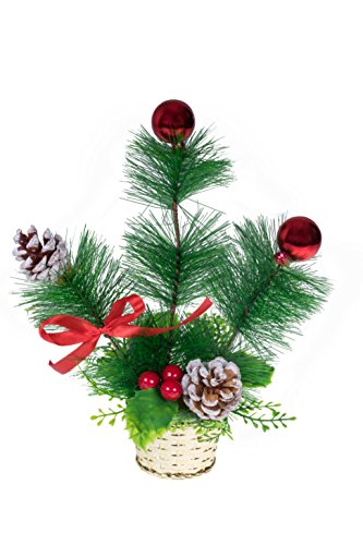 Mini Christmas Branch Tabletop Arrangement by Clever Creations   Artificial Pine Boughs Decorated with Red Balls and Pinecones in a Gold Basket   Festive Holiday Dcor   Shatter Resistant   10