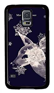 Blue Elk And Snow PC Black Hard Case Cover Skin For Samsung Galaxy S5 I9600
