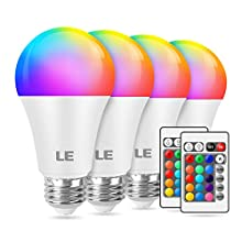 LE 9W Color Changing Light Bulbs with Remote, Dimmable LED Light Bulb, 60W Equivalent 806 Lumens Warm White, RGB Decorative Lighting for Home Bar Party Bedroom, A19 E26 Screw Base (4 Pack)