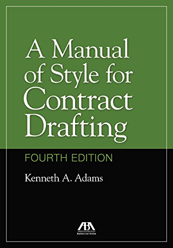 Pdf Law A Manual of Style for Contract Drafting