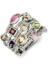 Sterling Silver Rhodium Plated Multi-Color Gem Multi-Shaped Bezel Set Gemstone 5-Strand Ring