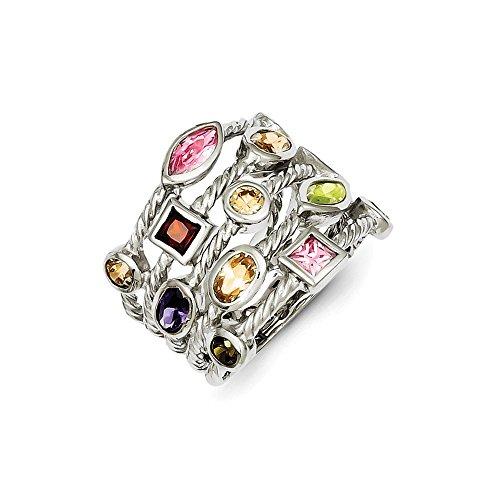 Multi Color Gems Ring (Sterling Silver Rhodium Plated Multi-Color Gem Multi-Shaped Bezel Set Gemstone 5-Strand Ring)