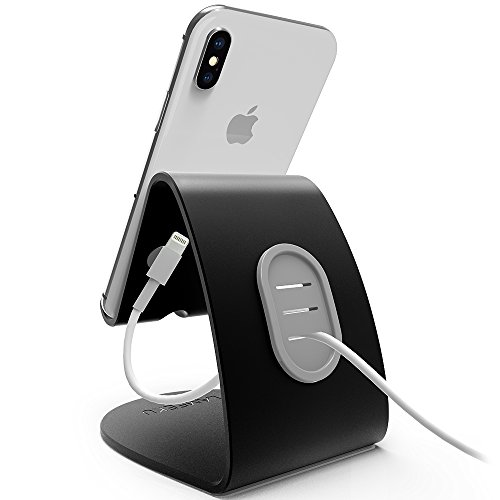 LAMEEKU Compatible Cell Phone Stand Replacement for iPhone Stand, 4mm Thickness Aluminum Desktop Cradle Dock, ARC Charging Station For Switch, all Smartphone, iPhone X 8 7 6s 6 Plus, iPad, Black by LAMEEKU