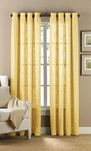 (B. Smith Origami Grommet 63 Inch Window Curtain Panel in Yellow)