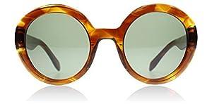 Alexander McQueen AM0002S 002 Havana Green AM0002S Round Sunglasses Lens Catego