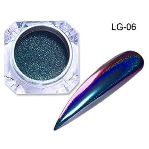 LG-06 : Born Pretty Holographic Chameleon Peacock Nail Glitter Mirror Laser Pigment Powder Holo Nail Art Chrome Glitters Nailart UV Gel