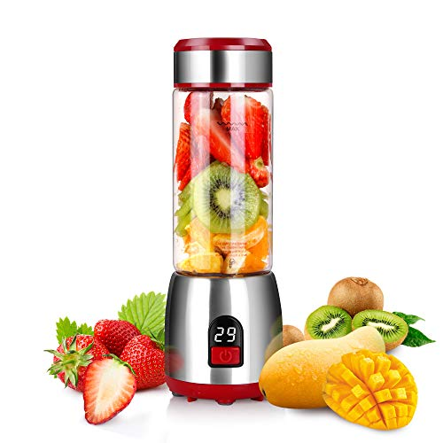 Portable-Personal-Blender for Smoothies , Guguyeah USB-Glass-Blender- Juicer-Cup with Rechargeable Battery, Single Serve Fruit Mixer, 15 oz Multifunctional Small Shakes and Smoothies Travel-Blender (FDA, BPA Free) (Best Single Serve Blender 2019)