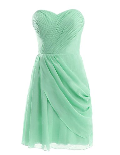 Diyouth Short Asymmetric Bridesmaid Dresses Sweetheart Prom Evening Gowns Mint Size 6