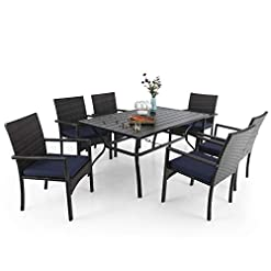 """Garden and Outdoor MFSTUDIO 60″ x 38″ Patio Dining Table Set Rectangular Metal Slat Surface with 6 PE Rattan Chairs Outdoor Furniture Backyard Table Set with 1.57"""" Umbrella Hole patio dining sets"""