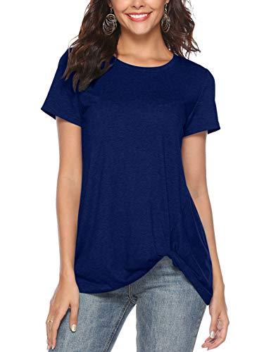 Shirt Tops Tuniques Hauts Blouse Amoretu Manches Noué Rond Bleu Twist Col Femmes Courtes Ete xqw8n7H16