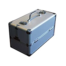 Silver Aluminum Like Hard Makeup Train Case Store and Carry
