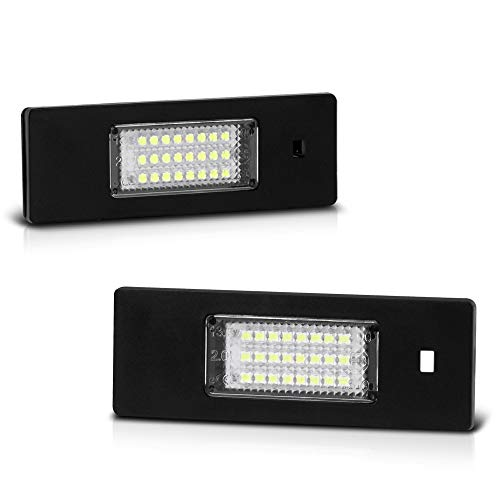 VIPMOTOZ Full LED License Plate Light Tag Lamp Assembly Replacement Pair For BMW 6-Series Z4 i3 X2 & Mini Cooper Clubman Countryman Paceman - 6000K Diamond White, 2-Piece Set