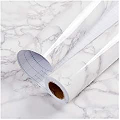 Color: White/Gray Faux Marble Contact Paper Material: Vinyl Contact Paper Roll Size: 17.71 x 196.8in = 24.22sq.ft (by feet), 5m x 0.45m = 2.25sq.m (by meter) Usage: Wall decoration, cabinets and drawers, counter tops, bookshelves, closet shel...