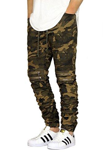 MEN'S TWILL BIKER JOGGER PANTS WITH SHIRRING DETAIL S-3XL (XL, Camo)