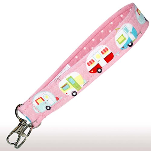 Camping Key Fob Wristlet - Pink Camper Keychain - Glamping Trailers - RV Accessories - Purse Strap