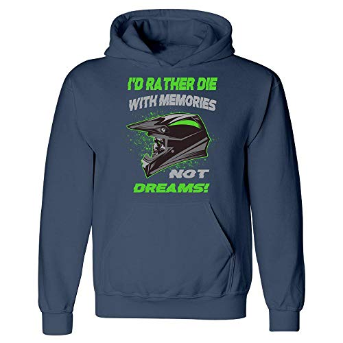Americas Best Buys Motocross Green Skull Helmet Design Dirt Bike ATV Jet Ski UTV - Hoodie ()