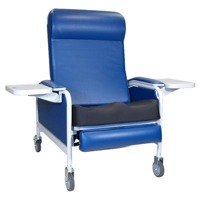 Three Position Extra Large Convalescent Recliner with Saddle Seat Color: Gray, Style: TB133, IV Pole at Right Rear