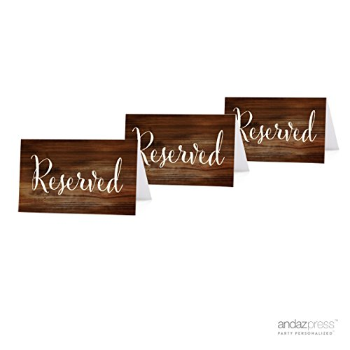 Andaz Press Table Tent Place Cards on Perforated Paper, Rustic Wood Print, Reserved Collection, 20-Pack, Placecards Table Settings for use with Charger Plates and Place Card Holders, Catering, Food, Dessert Table Tent Cards Wedding Tent Decorations