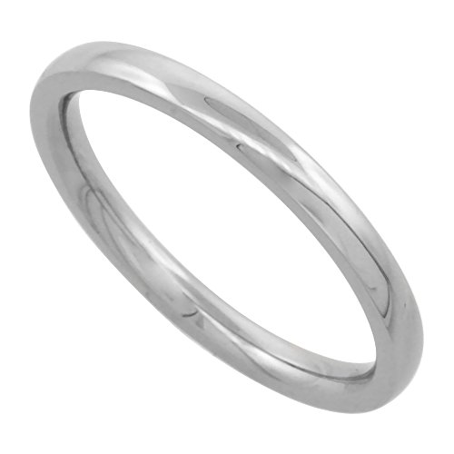 Surgical Steel Plain Wedding Band Thumb Ring / Toe Ring 2mm Domed thin Comfort-Fit High Polish, size 7.5