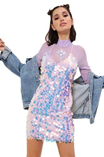 Saw Lentejuelas I Gigante First It Mujer Vestido Color De Para Rosa d77Aq