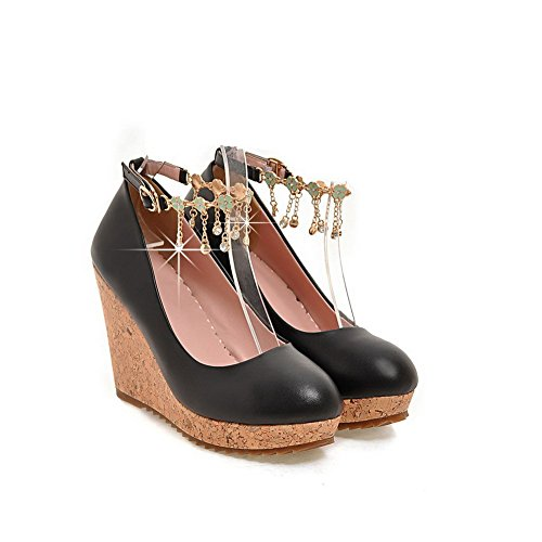 VogueZone009 Damen Rein Blend-Materialien Hoher Absatz Schnalle Rund Zehe Pumps Schuhe Schwarz