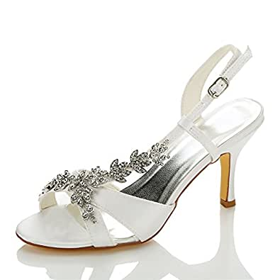 JIA JIA 1415A Women's Bridal Shoes Open Toe Mid Heel Satin Sandals Rhinestone Wedding Shoes Color Ivory,Size 3.5 AU/35 EU