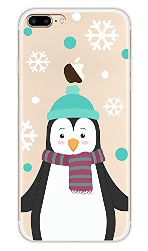 Buyus iPhone 8 Plus/7 Plus Case Clear with Design, Soft Thin TPU Rubber Silicone Back Protective Cover with Cute Animal Pattern (Penguin with Blue Hat,Purple/Grey Scarf,White Snowflake & Polka ()