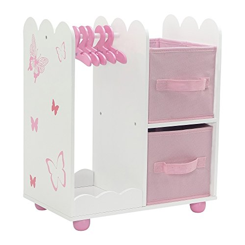 18 Inch Doll Furniture | Beautiful Open Wardrobe 18 Inch Doll Closet with Butterfly Detail, Includes 5 Wooden Doll Clothes Hangers | Fits American Girl Doll Clothes