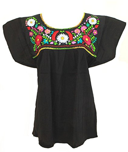 Mexican Embroidered Top (Ethnic Identity Mexican Blouse Campesina Floral (Small, Black))
