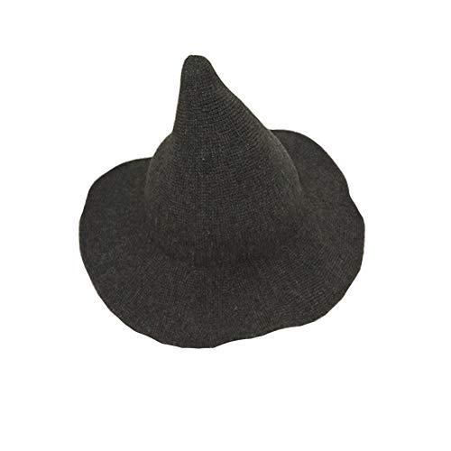 Dragon Honor Modern Halloween Witch Hat Women Wool Wide-Brimmed Hat Cap (Dark -