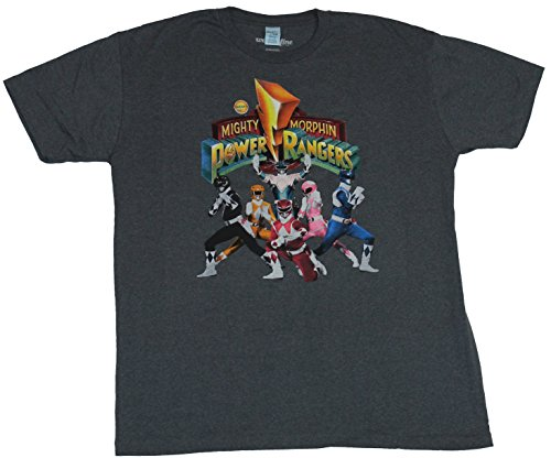 Mighty Morphine Power Rangers Mens T-Shirt - TV Style Group Under Logo (Small) Gray (Mighty Morphin Power Rangers Logo)