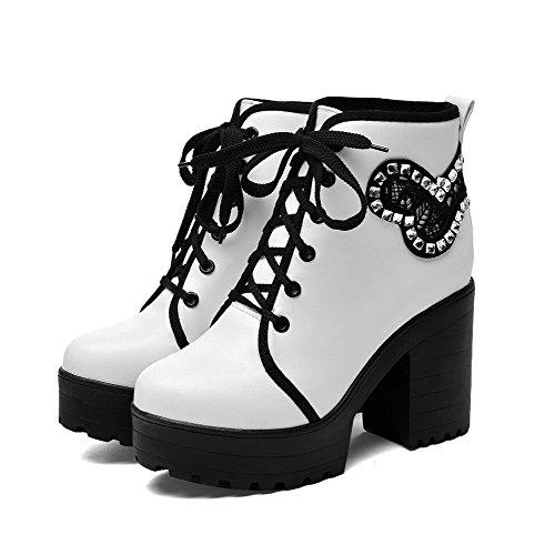 AgooLar Damen Schnüren Rund Zehe Hoher Absatz Niedrig-Spitze Stiefel Weiß